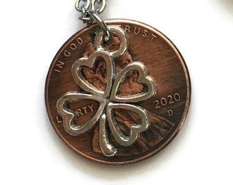 2010-2021 Handmade Lucky Lincoln Penny Necklace with Silver 4 Leaf Clover - Pennies from Heaven - Birth Year