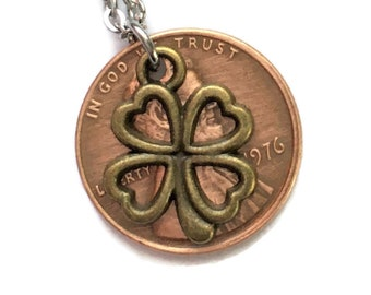2010-2020 Handmade Lucky Lincoln Penny Necklace with Bronze 4 Leaf Clover - Pennies from Heaven - Birth Year
