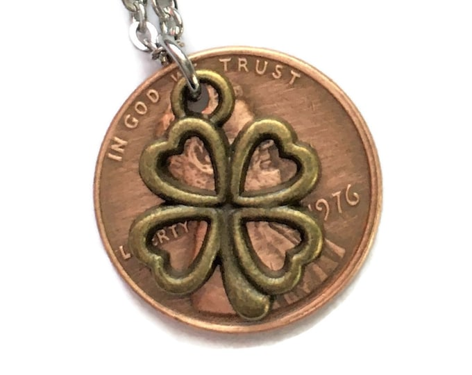 1959-2008 Handmade Lucky Lincoln Penny with Bronze Colored 4 Leaf Clover Necklace Jewelry - Birth Year - Pennies from Heaven