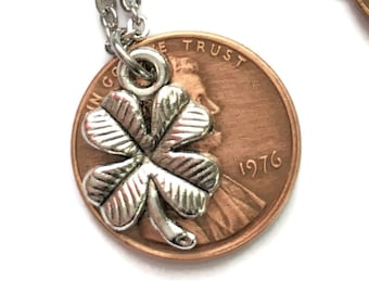 1959-2008 Lucky Lincoln Penny with 4 Leaf Clover Necklace Jewelry - Birth Year Gift - Pennies from Heaven - Handmade