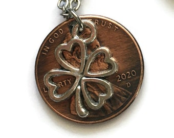 1959-2008 Handmade Lucky Lincoln Penny with Silver 4 Leaf Clover Necklace Jewelry - Birth Year - Pennies from Heaven