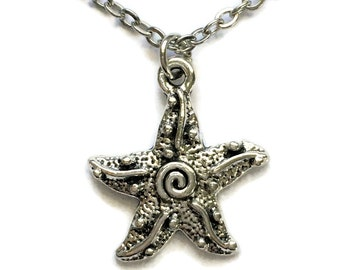 """Starfish Ocean Necklace on Stainless Steel 18"""" Cable Chain Tibetan Silver Nautical Charm Pendant Sea Handmade Star"""