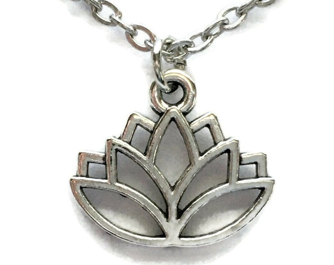 Lotus Flower Necklace Charm on Stainless Steel Cable Chain Tibetan Silver Jewelry Minimalist Jewelry Yoga Pendant