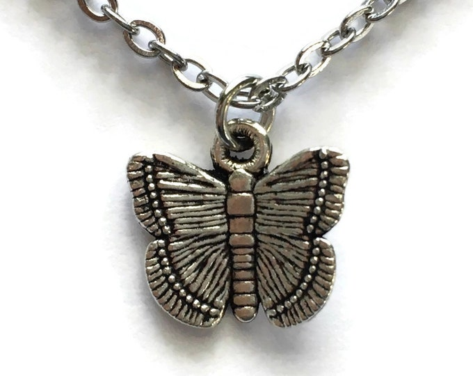 Butterfly Necklace on Stainless Steel Cable Chain Tibetan Silver Insect Charm Pendant Bug