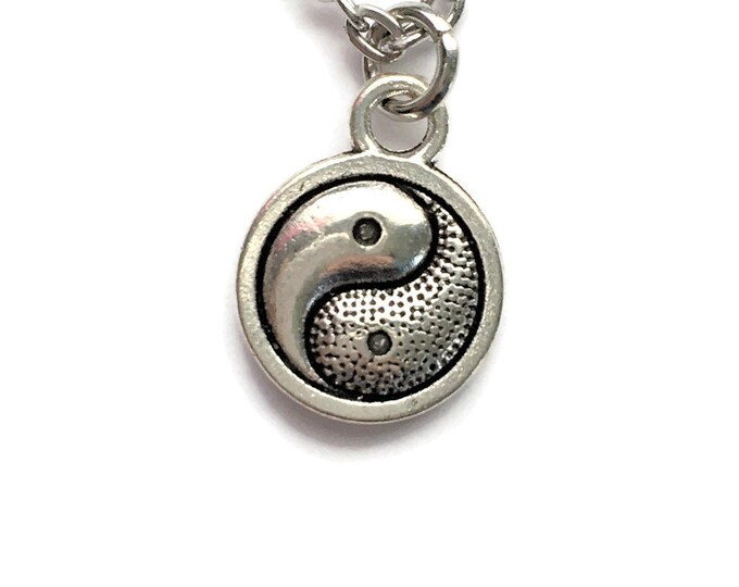 "Yin Yang Pendant Necklace Charm on Stainless Steel 18"" Cable Chain Tibetan Silver Handmade Jewelry"