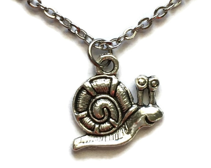 "Snail Necklace on Stainless Steel 18"" Cable Chain Tibetan Silver - BOHO Statement Jewelry Insect Bug Slug Slime Gardener"