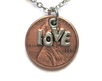 1959-2008 Handmade Lucky Lincoln Penny Love Necklace - OOAK Jewelry - Birth Year - Pennies from Heaven Anniversary Copper