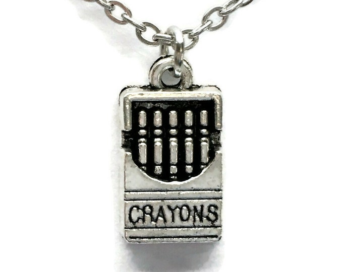 Box of Crayons Necklace Charm on Stainless Steel Cable Chain Tibetan Silver Jewelry Jewelry Pendant School Teacher Student Crayola