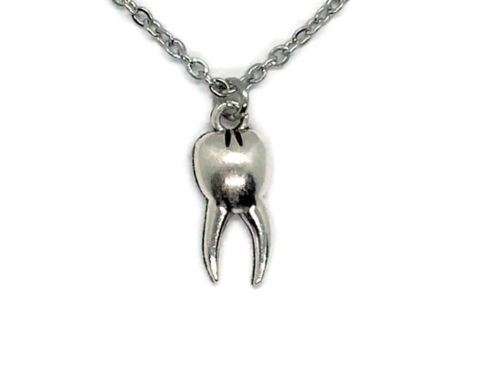 "Tooth Pendant Necklace on Stainless Steel 18"" Cable Chain Tibetan Silver Dentist Molar Tooth Fairy"