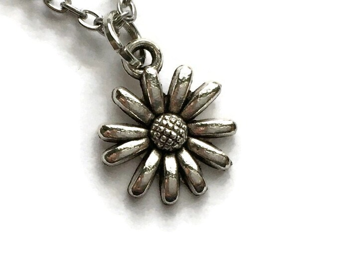 """Dainty Flower Necklace on Stainless Steel 18"""" Cable Chain Tibetan Silver Handmade"""