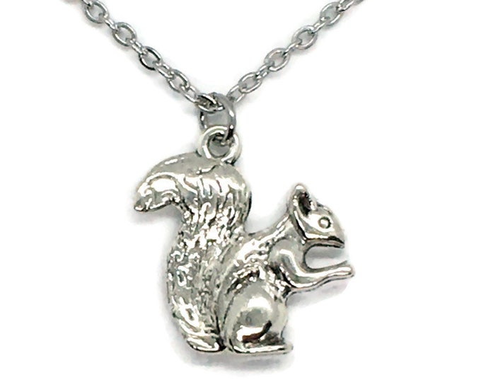 Squirrel Charm Necklace on Stainless Steel Cable Chain Tibetan Silver Animal Tree Nature Pet Rodent Nut