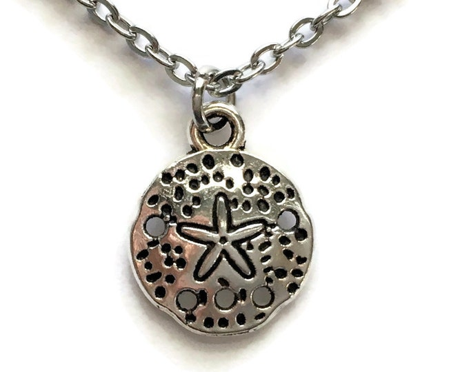 "Sand Dollar Ocean Necklace on Stainless Steel 18"" Cable Chain Tibetan Silver Nautical Charm Pendant Sea Handmade Star"