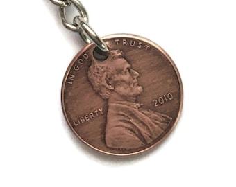 2010-2020 Handmade Lucky Penny Keychain Coin Copper Lincoln Birth Year Gift Birthday Graduation Memorial Lanyard Money