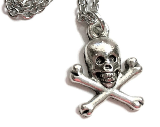 "Pirate Skull and Crossbones Necklace Charm on Stainless Steel 18"" Cable Chain Tibetan Silver Jewelry - Minimalist Halloween Jewelry Gothic"