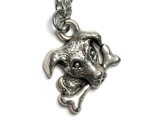 Puppy Dog with Bone Necklace on Stainless Steel Cable Chain Tibetan Silver Animal Handmade Charm Pendant