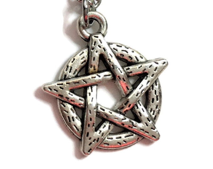 Pentagram Necklace Charm on Stainless Steel Cable Chain Tibetan Silver Jewelry Minimalist Wiccan Jewelry Gothic Witchcraft Magic Evil Star