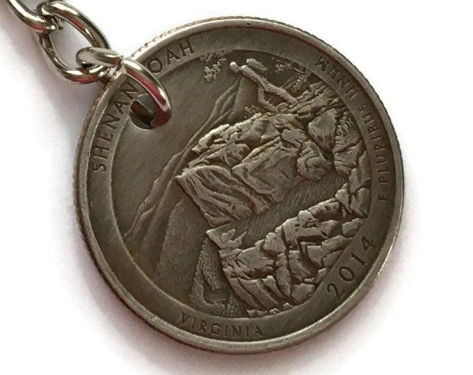 2014 Virginia Quarter Keychain Handmade Shenandoah National Park Quarter - Parks and Recreation Gift - State Ornament Key Chain