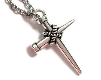 Religious Nails Cross Necklace on Stainless Steel Cable Chain Tibetan Silver Christian Catholic Religion Jesus
