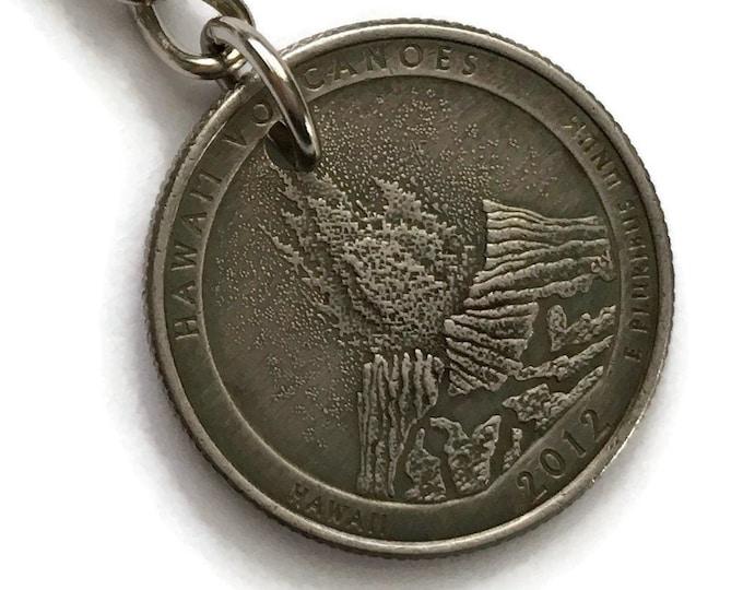 2012 Hawaii Quarter Keychain Handmade Hawai'i Volcanoes National Park - Parks and Recreation Gift Coin Money Key Chain