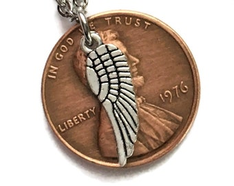 1959-2008 Handmade Lucky Penny with Tibetan Silver Angel Wing Necklace - Pennies from Heaven - Birth Year Gift Memorial Remembrance Jewelry