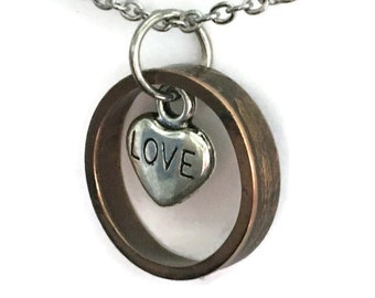 Pre-1958 US Copper Wheat Penny Coin Ring Necklace with Love Heart - Antiqued OOAK Pennies from Heaven Jewelry