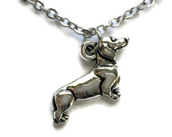 Dachshund Dog Necklace on Stainless Steel Cable Chain Tibetan Silver Jewelry Sausage Pet Puppy Charm Pendant