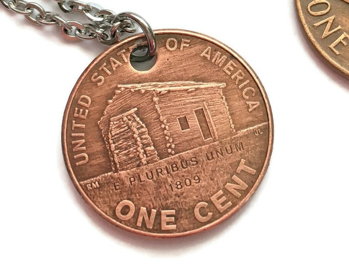 2009 Handmade Lucky Lincoln Cabin Penny Necklace - OOAK Jewelry - Pennies from Heaven - Birth Year - Rare Collector's Edition Anniversary