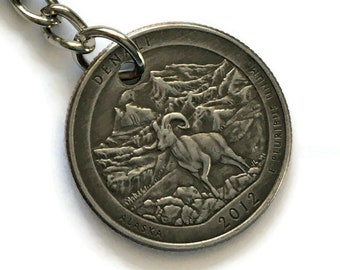 2012 Alaska Quarter Keychain Handmade Denali National Park and Preserve - Parks and Recreation Gift Stainless Steel Lanyard State Ornament