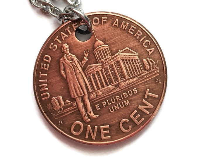 2009 Handmade Lucky Lincoln Penny Necklace Jewelry - Commemorative - Birth Year - Rare Collector's Edition Anniversary Springfield Illinois