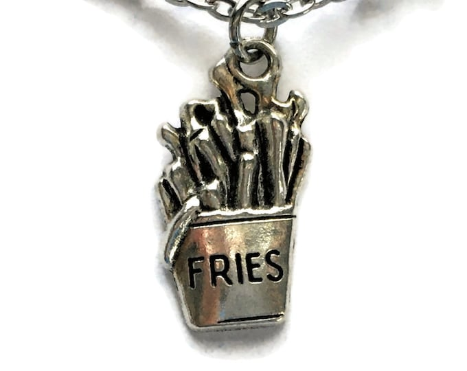 French Fries Necklace Stainless Steel Cable Chain Tibetan Silver Jewelry Chips Fast Food Restaurant Diner Pendant Charm