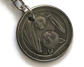 2020 American Samoa Quarter Keychain Handmade National Park - Parks and Recreation Gift Stainless Steel Lanyard State Ornament Bat