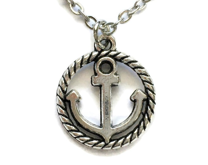 Anchor Charm Necklace on Stainless Steel Cable Chain Tibetan Silver Nautical Rope Circle Jewelry