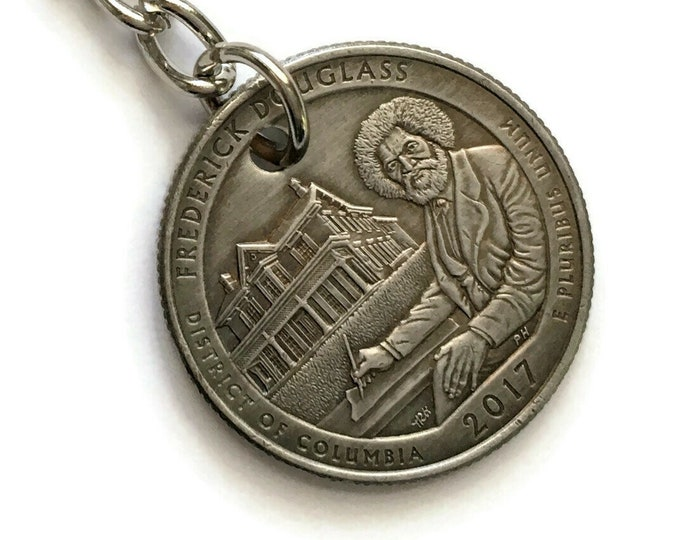 2017 District of Columbia Quarter Keychain Handmade Frederick Douglass National Historic Site - Parks and Recreation Gift - State Ornament