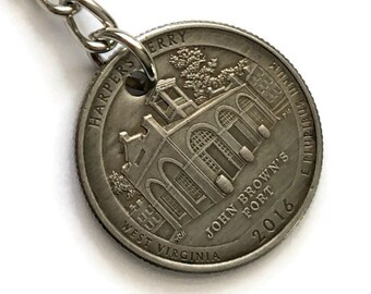 2016 West Virginia Quarter Keychain Handmade Harpers Ferry National Historical Park - Parks and Recreation Gift - John Brown State Ornament