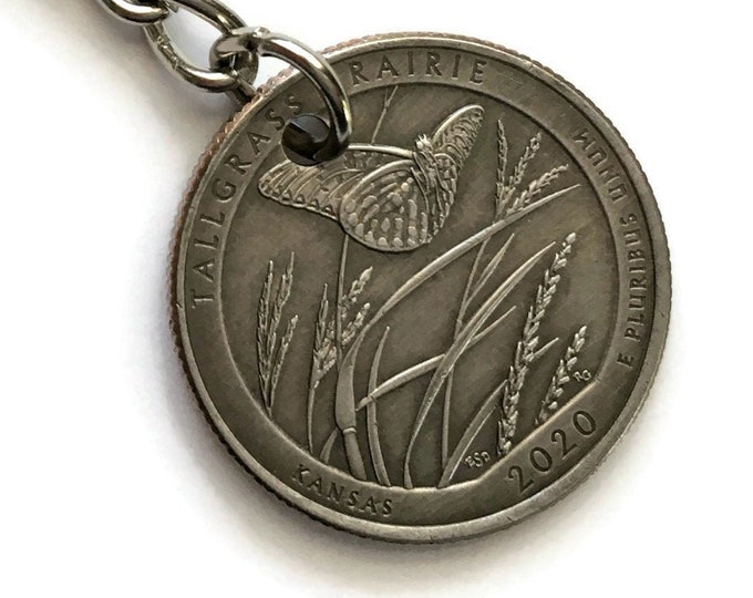 2020 Kansas Quarter Keychain Handmade Butterfly Tallgrass Prairie Parks and Recreation Gift State Ornament - Stainless Steel Coin Key Chain