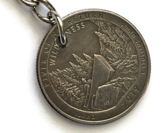 2019 Idaho Quarter Keychain Handmade River of No Return National Park Quarter - Parks and Recreation Gift - State Ornament Key Chain