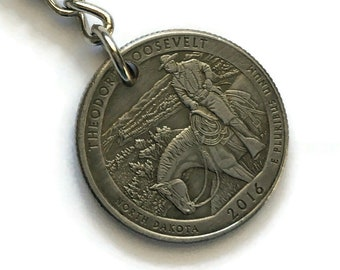 2016 North Dakota Quarter Keychain Handmade Theodore Roosevelt National Park - Parks and Recreation Gift - State Ornament Key Chain