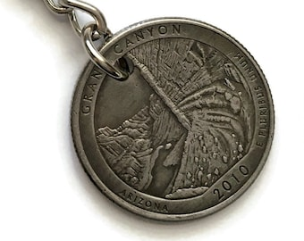 2010 Arizona Quarter Keychain Handmade Grand Canyon National Park - Parks and Recreation Gift - State Ornament - Stainless Steel Key Chain