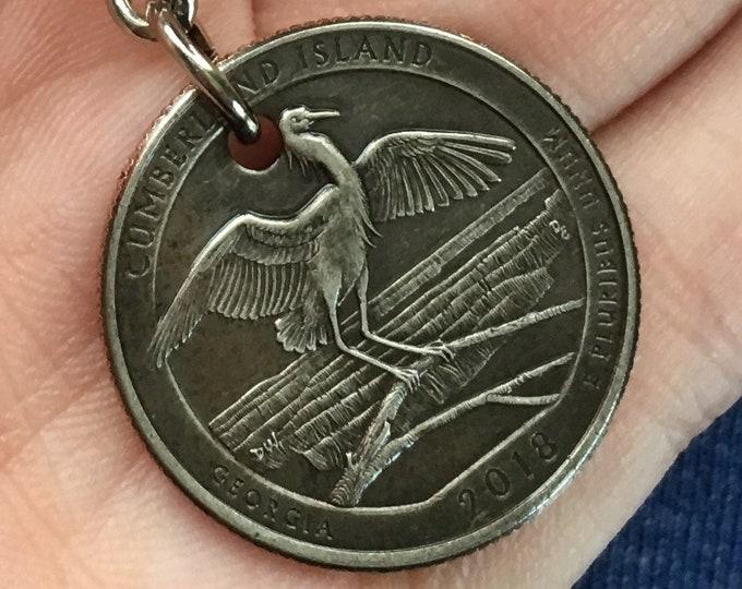 2018 Georgia Quarter Keychain Handmade Cumberland Island National Seashore - Parks and Recreation Gift - State Ornament - Key Chain