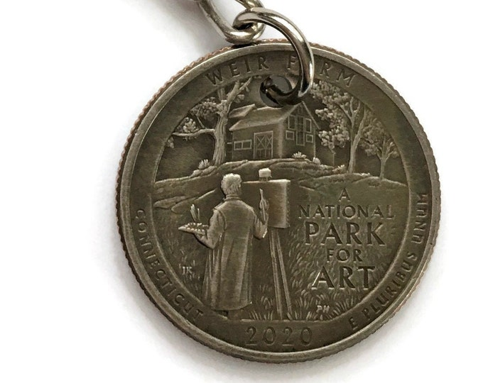 2020 Connecticut Quarter Keychain Handmade Weir Farm National Historic Site - Parks and Recreation Gift - State Ornament - Key Chain
