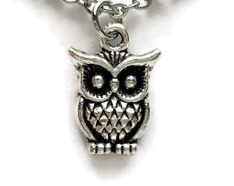 """Owl Necklace on Stainless Steel 18"""" Cable Chain Tibetan Silver Bird Charm Pendant Wise Fowl"""