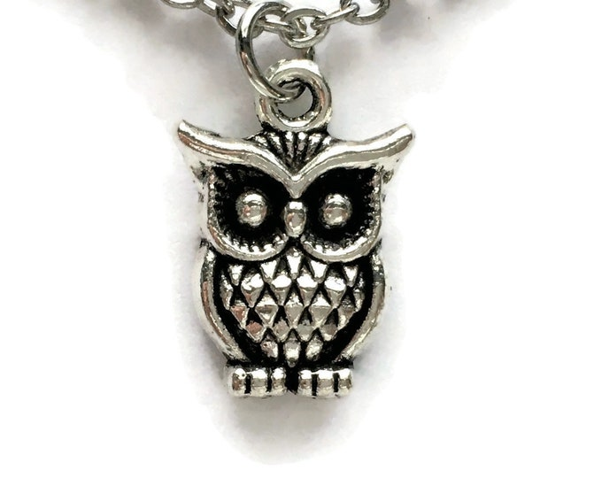 "Owl Necklace on Stainless Steel 18"" Cable Chain Tibetan Silver Bird Charm Pendant Wise Fowl"