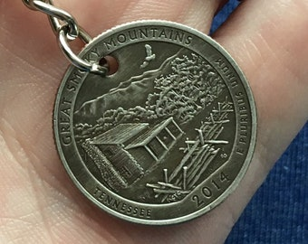 2014 Tennessee Quarter Keychain Handmade Great Smoky Mountains National Park - Parks and Recreation Gift