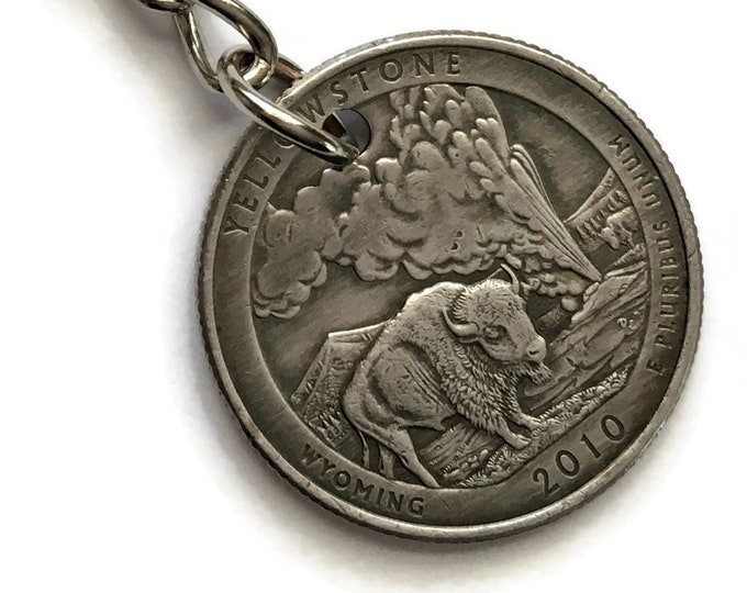 2010 Wyoming Quarter Keychain Handmade Yellowstone National Park Quarter - Parks and Recreation Gift - Stainless Steel Key Chain
