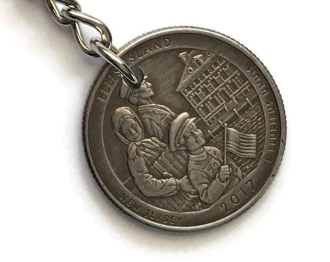 2017 New Jersey Quarter Keychain Handmade Ellis Island National Park - Parks and Recreation Stainless Steel Lanyard State Ornament