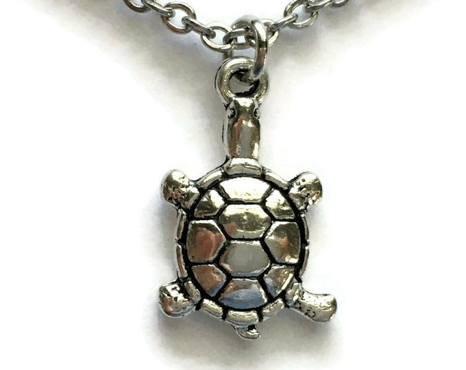 "Turtle Tortoise Necklace Charm on Stainless Steel 18"" Cable Chain Tibetan Silver Jewelry Reptile Statement Pendant Ocean Nautical"