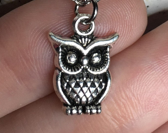 "Owl Necklace on Stainless Steel 18"" Cable Chain Tibetan Silver"
