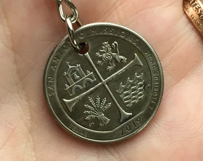 2019 Texas Parks Quarter Keychain Handmade San Antonio Missions National Historical Park and Recreation - State Ornament Key Chain