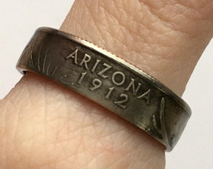 2008 Arizona US State Quarter Coin Ring - Antiqued - Sealed - Gothic BOHO - Dark Souls Supernatural Cosplay