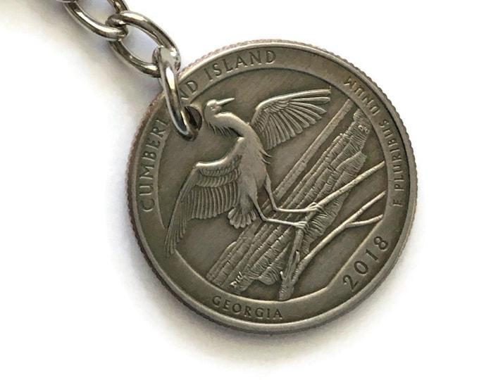 2018 Georgia Quarter Keychain Handmade Cumberland Island National Seashore - Parks and Recreation Gift - State Ornament - Key Chain Lanyard